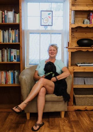 CINDY PEARCE with her puppy